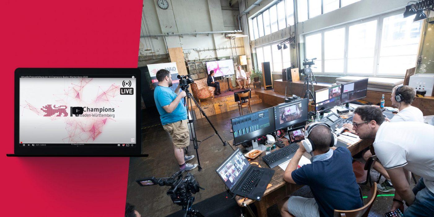 Livestreamsetup des digitalen Events KI-Champions